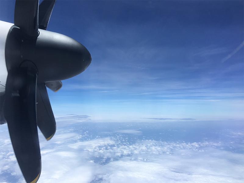 与論島旅行記:与論空港までの飛行機内